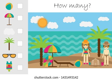 How many counting game, summer beach for kids, educational maths task for the development of logical thinking, preschool worksheet activity, count and write the result, vector illustration