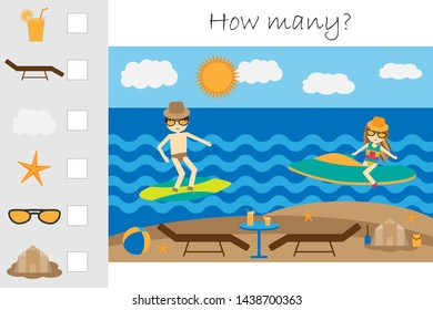 How many counting game, summer beach with people for kids, educational maths task for the development of logical thinking, preschool worksheet activity, count and write the result, vector illustration