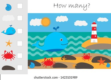 How many counting game, whale and lighthouse for kids, educational maths task for the development of logical thinking, preschool worksheet activity, count and write the result, vector illustration