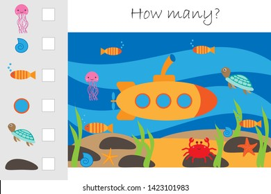 How many counting game,submarine under water for kids, educational maths task for the development of logical thinking, preschool worksheet activity, count and write the result, vector illustration