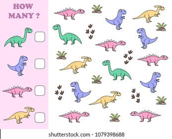 How many objects task. Educational math game for preschool children. Counting game for kids. Kids activity page. Dinosaurs. Tyrannosaurus rex. Brachiosaurus. Stegosaurus. Parasaurolophus.