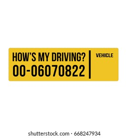 How is my driving Yellow sticker vector template.