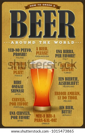 How To Order A Beer Vintage Poster/ Illustration of a vintage poster with grunge texture, mouth watering beer glass, and a beer please text in many world languages