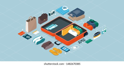 How to pack your suitcase for a travel checklist: open trolley case and items that needs to be organized