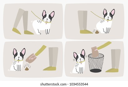 How to pick up dog poop using plastic bag and throw it in trash can, step-by-step manual or instruction. Way of cleaning up after pet during daily walk. Cute cartoon colorful vector illustration.