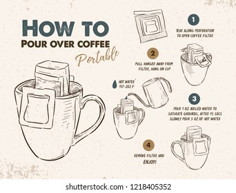 How to Pour over coffee portable, easy to drink at home. Hand draw sketch vector.