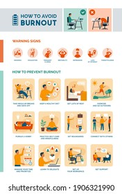 How to recognize and avoid burnout infographic: how to prevent burnout and self care healthy lifestyle tips