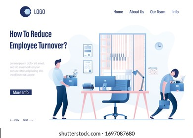 How To Reduce Employee Turnover? Landing page template. Staff replacement. Modern workplace in office. Dismissal and employment process in company. Male and female office workers. Vector illustration