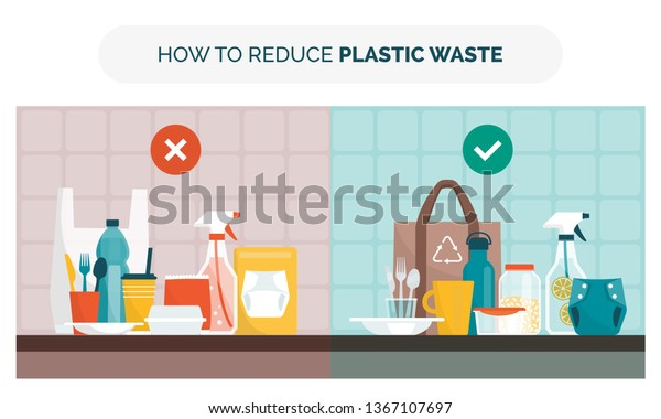 How Reduce Plastic Waste Home Choosing Stock Vector (Royalty