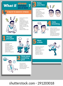 How to reduce stress at work Infographics colour vector set. Man in glasses. isolated vector, easy to edit