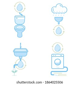 How to reuse water at home infographic symbol set. Vector illustration outline flat design style.