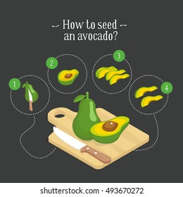 How to seed an avocado.  Vector illustration of step-by-step instruction. Avocado pieces set. Isometric organic healthy food. Tropical vegetable.