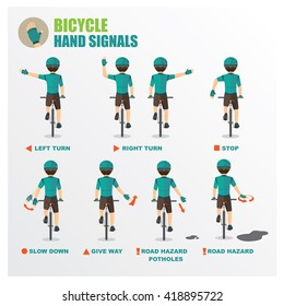 how to signal your intentions when cycling bicycle Cartoon vector