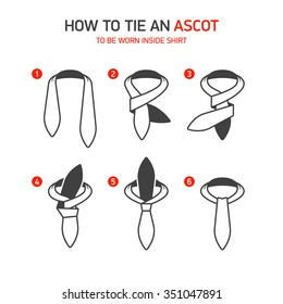 How to Tie an Ascot instructions. Vector.
