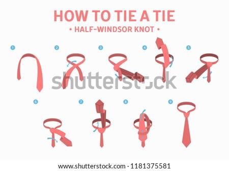 How Tie Halfwindsor Knot Tie Instruction Stock Vector Royalty Free