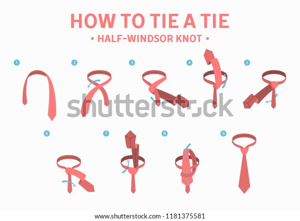 How Tie Halfwindsor Knot Tie Instruction Stock Vector ... Half Windsor Knot Diagram on