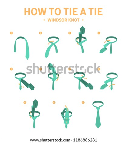 How Tie Windsor Knot Tie Instruction Stock Vector Royalty Free