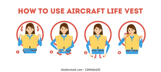 How to use airplane life jacket instruction. Demonstration how to behave in emergency situation. Guidance from the stewardess. Isolated vector illustration in cartoon style