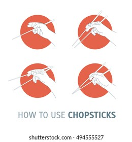 How Use Chopsticks. Oriental Cuisine. Poster with the Instruction Manual for Your Restaurant Business. Vector illustration