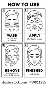 How to use facial sheet mask. Beauty and care instruction, cosmetic, cream. Vector illustration