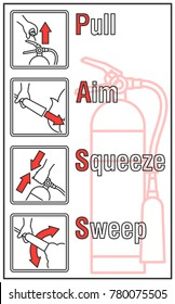 How to use a Fire Extinguisher Label, Fire extinguisher basic using guide label in vector illustration line icon style