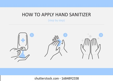 How to use hand sanitizer step by step, cleaning or disinfecting hands with alcohol based  hand sanitizer, prevention against infections, infographics vector