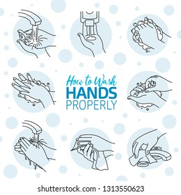 How to wash your hands correctly. Vector illustration of Handwashing. Hands soaping and rinsing