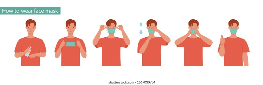 How to wear a mask correct. Man presenting the correct method of wearing a mask,To reduce the spread of germs, viruses and bacteria. Vector illustration in a flat style