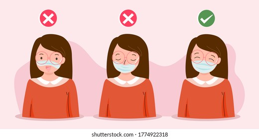 How to wear medical face mask properly. Instruction for personal hygiene during coronavirus. Girl characters wearing right and wrong way of surgical mask or face covering. Flat vector illustration