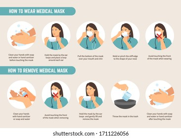How to wear and remove medical mask instructions. Coronavirus protection advice. Woman wear protective mask against infectious diseases. COVID-19 pandemic with surgical mask