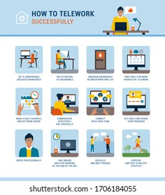 How to work from home successfully and boost productivity, vector infographic with advices