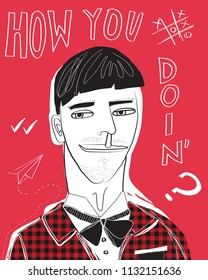 How you doin'? Illustration. Geek and nerd boy character. Flat design.