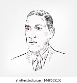 Howard Phillips Lovecraft vector sketch portrait face famous
