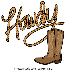 Howdy Cowboy Rope and Boot