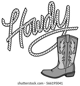 Howdy Cowboy Rope and Boot Illustration