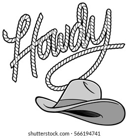 Howdy Cowboy Rope and Hat Illustration
