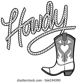 Howdy Cowgirl Rope and Boot Illustration