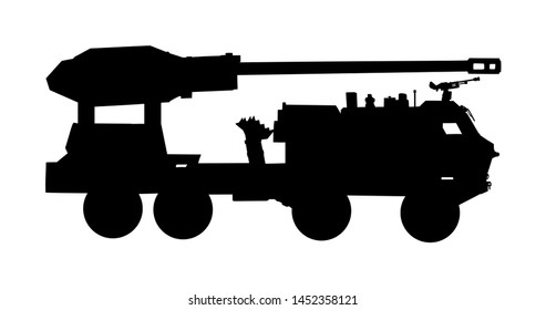Howitzer artillery launcher truck vector silhouette illustration. Missile Rocket carrier with cannon. Nuclear bomb test, war threat. Powerful army weapon for battle.