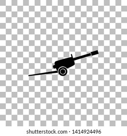 Howitzer. Black flat icon on a transparent background. Pictogram for your project