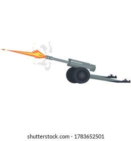 Howitzer. Shooting from a gun. Artillery, vector illustration