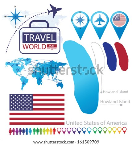 Howland Island On World Map.Howland Island United States America Flag Stock Vector Royalty Free