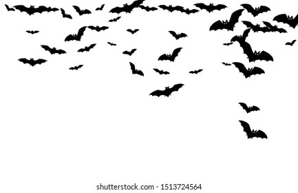 Howling black bats swarm isolated on white vector Halloween background. Flying fox night creatures illustration. Silhouettes of flying bats vampire Halloween symbols on white.