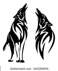 Wölfe mit schwarz-weißer Vektorillustration - Stamm-Stamm-Skizze