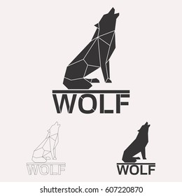 Howling wolf geometric lines silhouette isolated on white background vintage vector design element illustration set