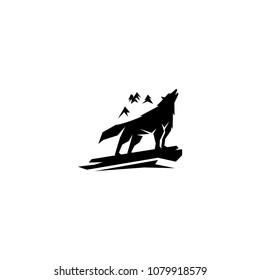 howling wolf logo vector