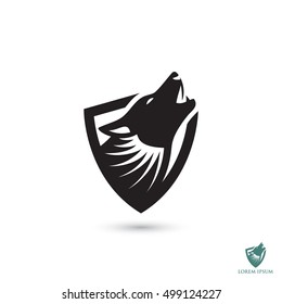 Howling wolf symbol - vector illustration