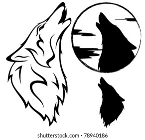 howling wolf vector illustration - outline, silhouette, against moon disk