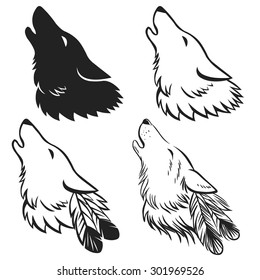 Howling wolf's head. Hand drawn vector illustration. May be used as tattoo sketch or logo design