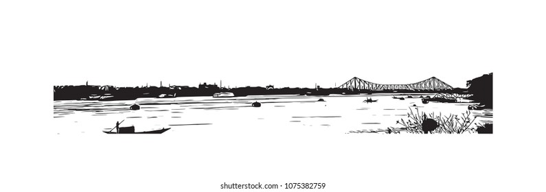 Howrah Bridge of Kolkata, City in West Bengal, India. Hand drawn sketch illustration in vector.