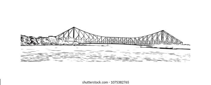 Howrah Bridge of Kolkata, City in West Bengal, India. Hand drawn sketch illustration in vector.